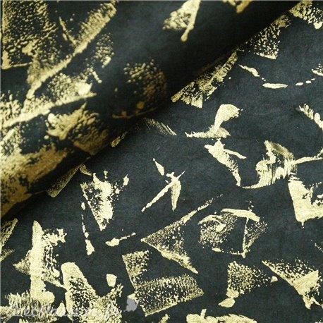 Papier népalais lokta lamaLi métallique noir et or