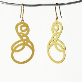 Boucles d'oreilles percées métal RAS doré courbes