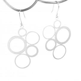 Boucles d'oreilles percées métal RAS argent ronds