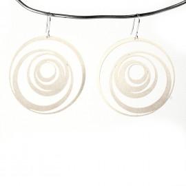 Boucles d'oreilles percées métal RAS argent spirales