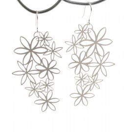 Boucles d'oreilles percées métal RAS argent fleurs marguerites