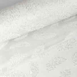 Tissu non tissé Vlies Creapop plume blanc -