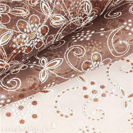 Tissu non tissé Vlies Creapop fleur marron cuivre -