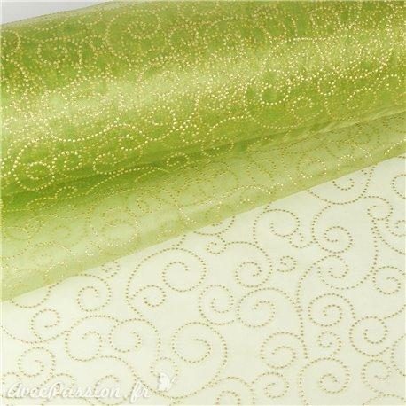 Tissu non tissé Vlies Creapop points olive -