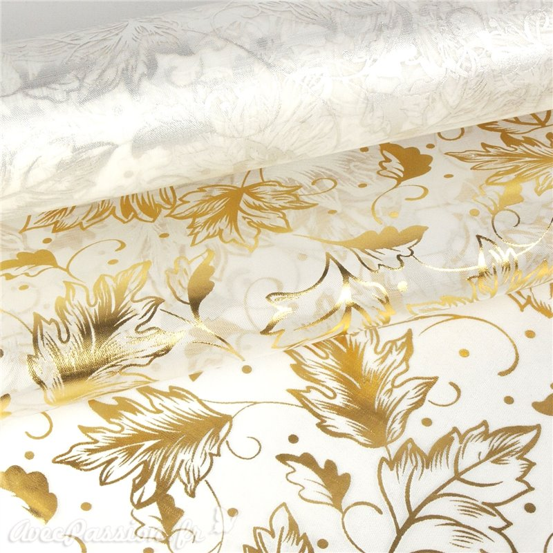 Tissu non tiss chemin table vlies creapop blanc feuille dor e for Chemin de table dore