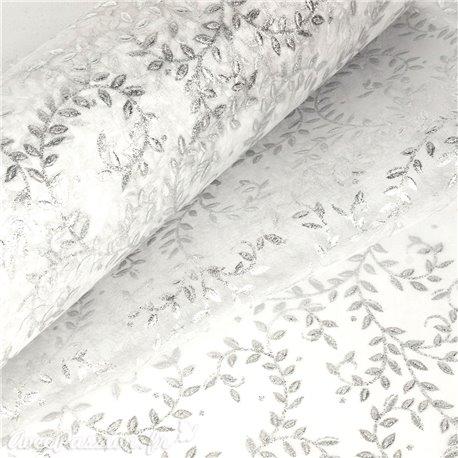 Tissu non tissé Vlies Creapop feuilles argent -