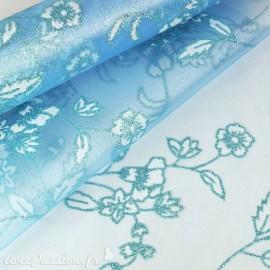 Tissu non tissé Vlies Creapop fleur avec mica bleu glacier -