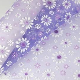 Tissu non tissé Vlies Creapop daisy lilas -