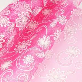 Tissu non tissé Vlies Creapop rose et fleur scintillante -