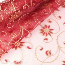 Tissu non tissé Vlies Creapop fleur bordeaux -