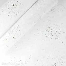 Tissu non tissé Vlies Creapop blanc et strass argent -