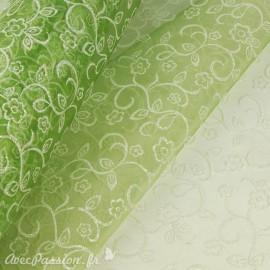 Tissu non tissé Vlies Creapop fleur avec mica olive -
