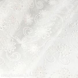 Tissu non tissé Vlies Creapop blanc fleur scintillante -