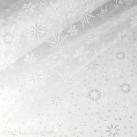 Tissu non tissé Vlies Creapop flocon blanc argent -