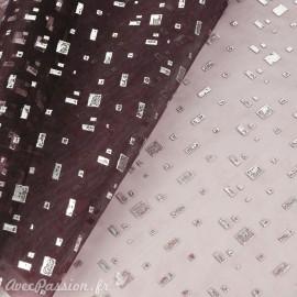 Tissu aubergine motifs argent quadrat 28cmx2.5m-----100photo -