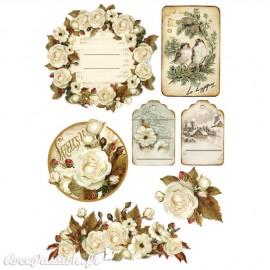 Etiquettes décoratives roses d'hiver adhésives