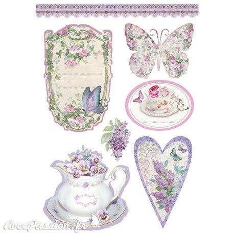 Etiquettes décoratives papillons en fleurs adhésives