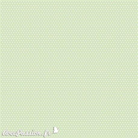Papier scrapbooking réversible shabby pois vert