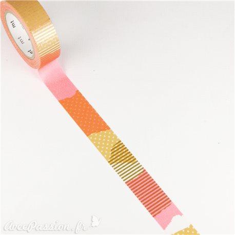 Masking tape rayé cerises ruban papier adhésif washi