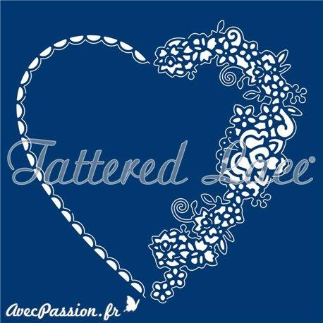 Dies découpe gaufrage matrice Tattered Lace coeur élégant