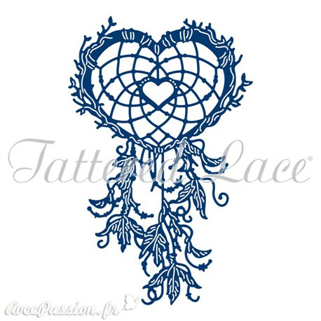 Dies découpe gaufrage matrice Tattered Lace coeur attrape rêve