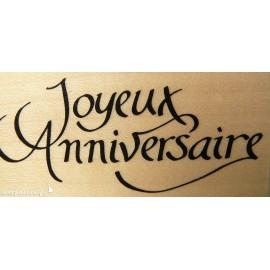 Tampon bois texte joyeux anniversaire