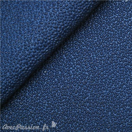 Papier simili cuir gum bleu indigo