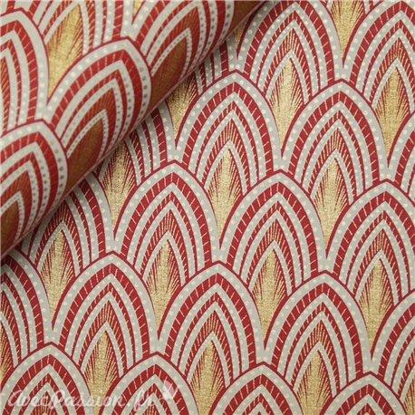 Papier fantaisie joséphine rouge gris et or