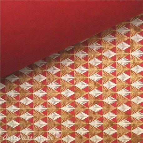 Papier fantaisie gatsby rouge gris et or