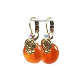 Boucles d'oreilles orange oreilles percées Nathalie Borderie