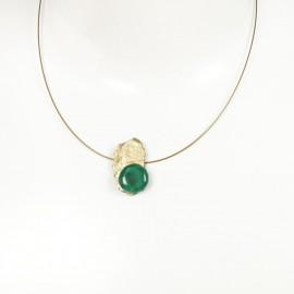 Collier fantaisie ras de cou Nathalie Borderie 1 médaillon vert émeraude