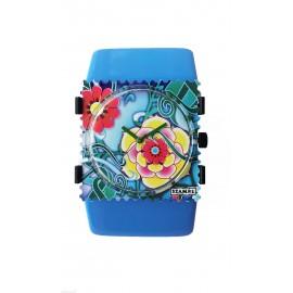 Montre Stamps bracelet élastique paradise bleu