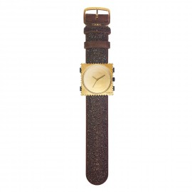 Bracelet de montre Stamps diamond gold velours marron strass swarovski - -