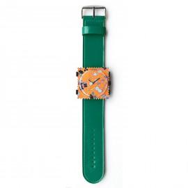 Bracelet de montre Stamps vert petrol vernis