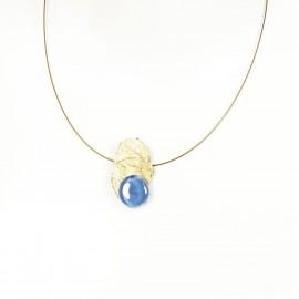 Collier fantaisie ras de cou Nathalie Borderie 1 médaillon bleu