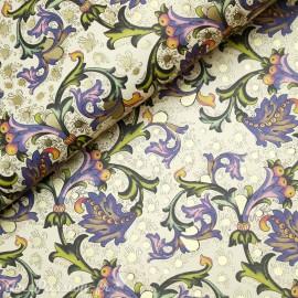 Papier italien motifs feuille d'acanthe violet 50x70