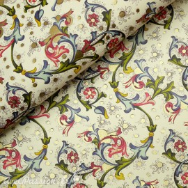 Papier italien motifs feuille d'acanthe rose fushia