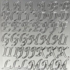 Sticker peel off adhésif argent alphabet baroque majuscule