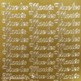 Sticker peel off adhésif or texte vive les mariés