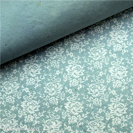 Papier népalais lokta versailles shabby bleu et blanc