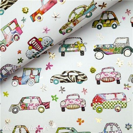 Papier Turnowsky motifs voitures rehaussé de doré