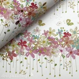 Papier Turnowsky motifs fleurs rehaussé de doré