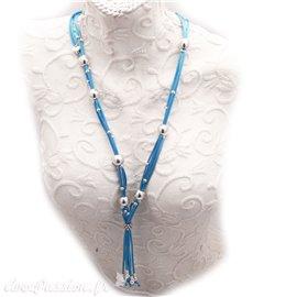Sautoir fantaisie créateur b&g métal Argent bleu -