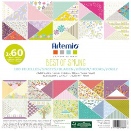 Papier scrapbooking assortiment best of spring 180 feuilles