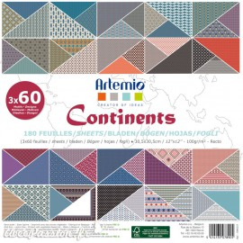 Papier scrapbooking assortiment continents 180 feuilles