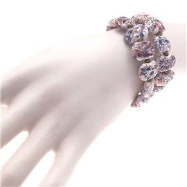 Bracelet fantaisie Kazuri céramique blanc bleu rouge - -