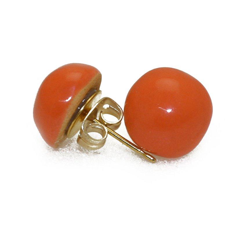 boucles d 39 oreilles clous kazuri c ramique orange puce ronde 1cm. Black Bedroom Furniture Sets. Home Design Ideas