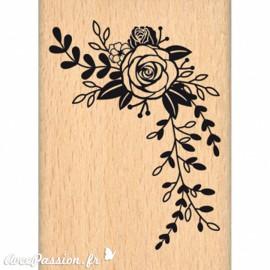 Tampon bois fleurs composition florale