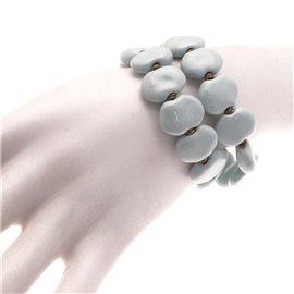 Bracelet fantaisie Kazuri céramique bleu ciel - -