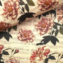 Papier italien motifs roses partition de musique 50x70